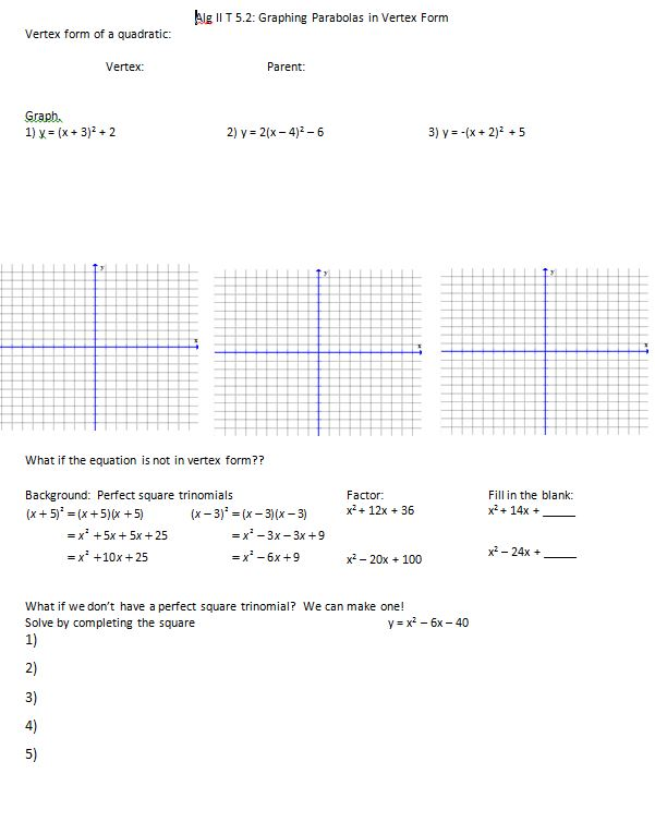 November 2014 Insert Clever Math Pun Here – Graphing Quadratic Functions in Standard Form Worksheet