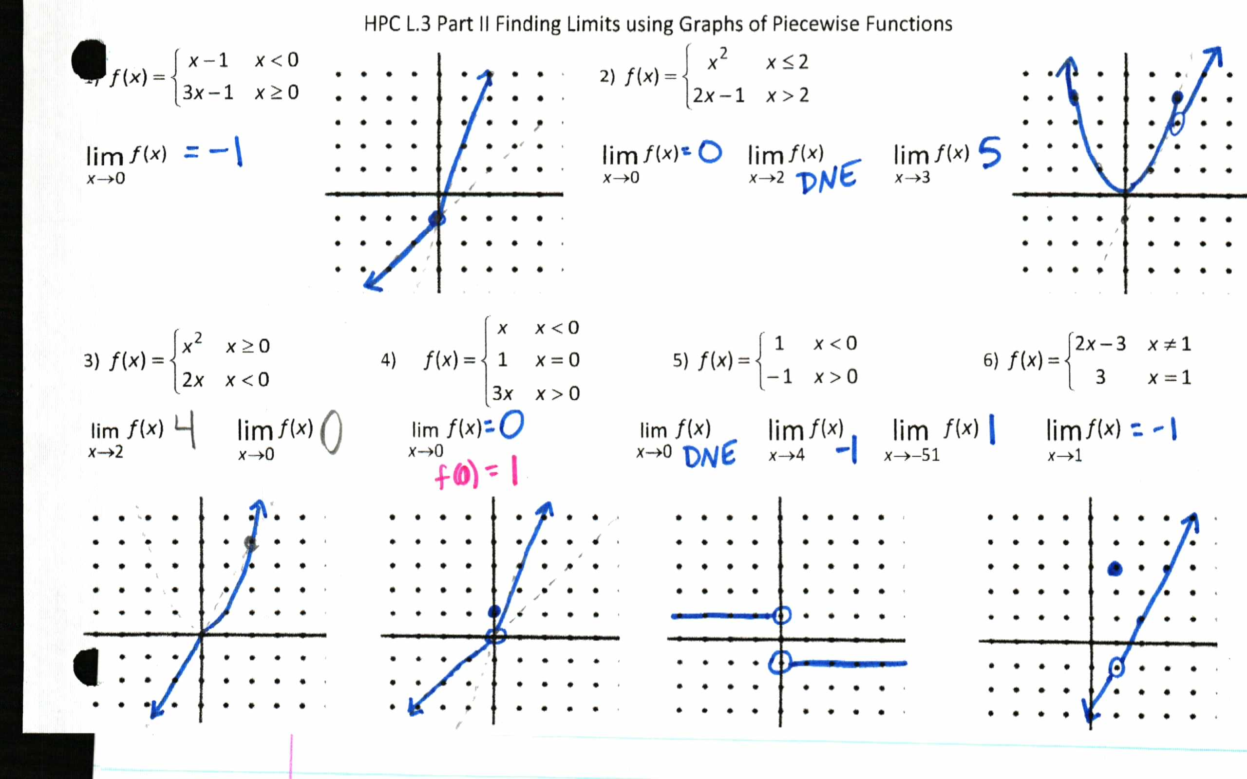 Take it to the Limit Insert Clever Math Pun Here – Piecewise Functions Worksheet with Answers