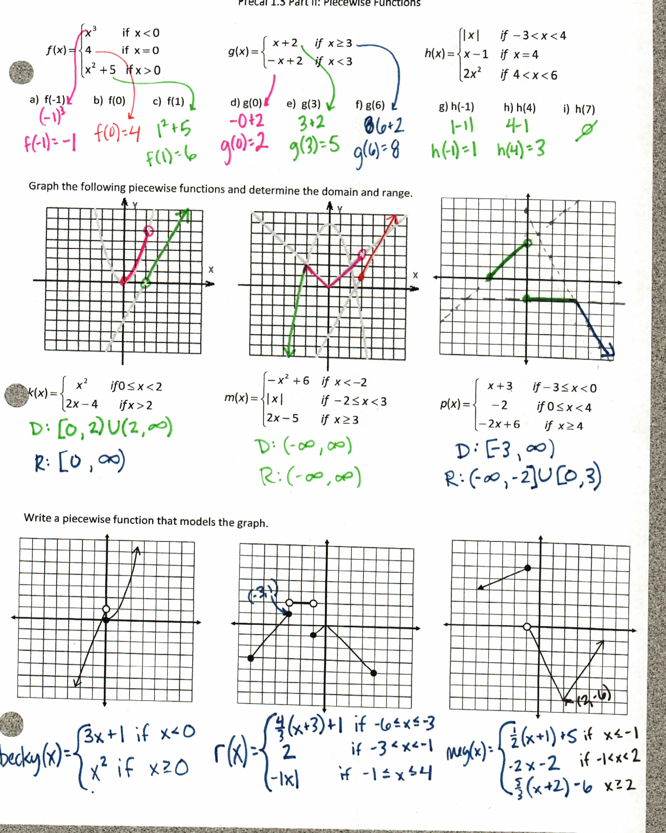 AROC Insert Clever Math Pun Here – Piecewise Functions Worksheet with Answers