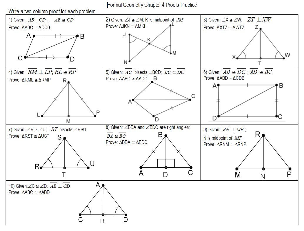 worksheet Congruent Triangle Proofs Worksheet geometry files triangle congruence insert clever math pun here from megcraig org