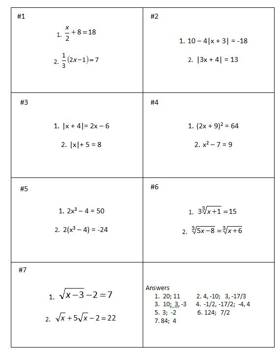 Alg II Equation Review Cards