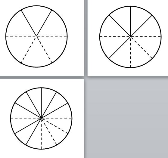 unit circle fraction cutouts dotted
